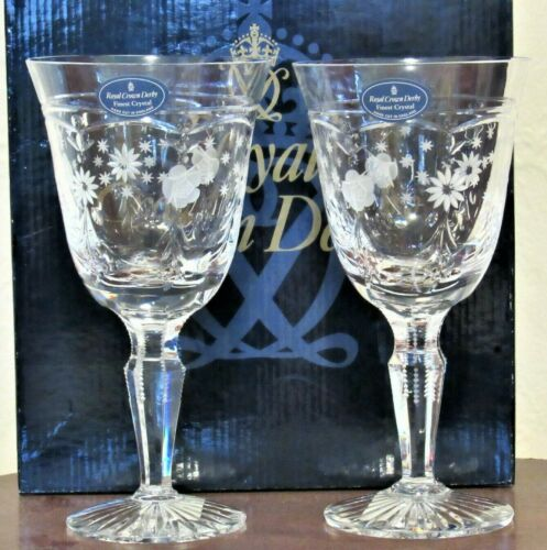 NEW In Box Royal Crown Derby by Royal Doulton Wine Goblets Etched Floral Pair