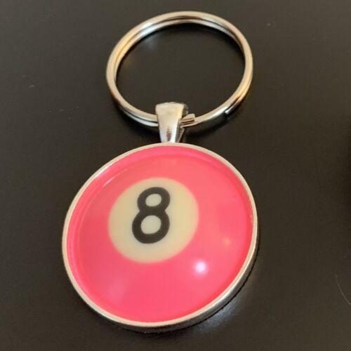 Pool Ball Keychain - resin pool ball top (PINK 8 Ball)