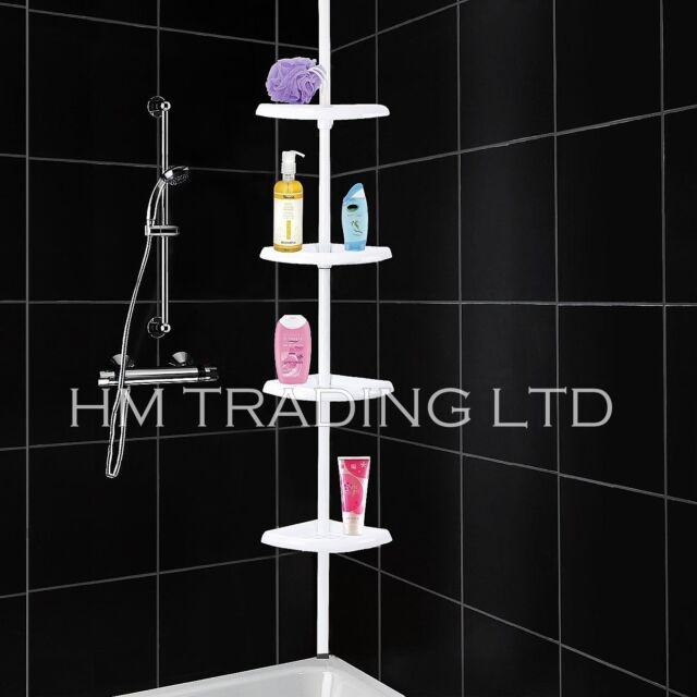 4 Tier Adjustable Shower BathTub Organiser Corner Caddy Storage Soap Dish Shelf