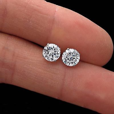 3 CT. ROUND CREATED DIAMOND STUD EARRINGS 14K WHITE GOLD HEAVY BASKET SCREW-BACK