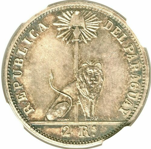 1868 PARAGUAY REPUBLIC MARISCAL LOPEZ SILVER PATTERN 2 REALES NGC GEM MS-65