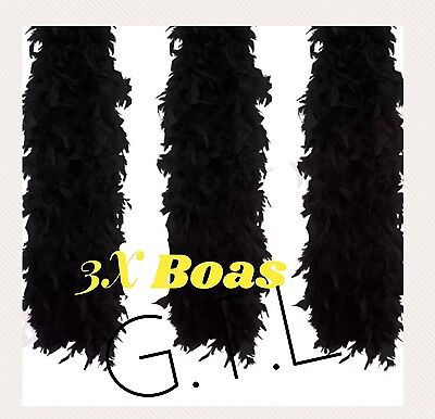 3X Black Feather Boa Wholesale Burlesque Hen Night Fancy Dress Party Bulk Lot - Cheap Feather Boas Bulk