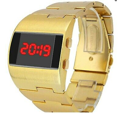 Mens Rare RED LED Digital Watch Gold Vintage 1970s Retro Style. UK SELLER