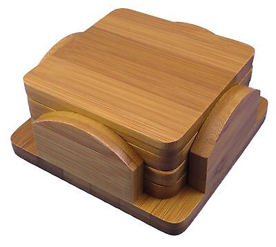 Bamboo Coasters Set of 4, with bamboo holder