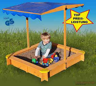 Sandkasten mit verstellbaren Dach mit Bodenplane,Sitzecken,lasiert,UV Schutz 80