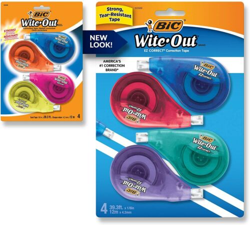 BIC Clean Wite-Out Brand EZ Correct Correction Tape, 4-Count