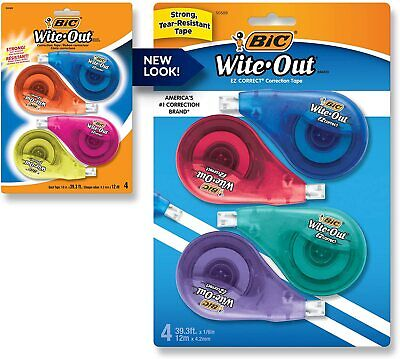 Bic White-out Brand Ez Correct Correction Tape 4 Pack Bic Wite Out Tape New