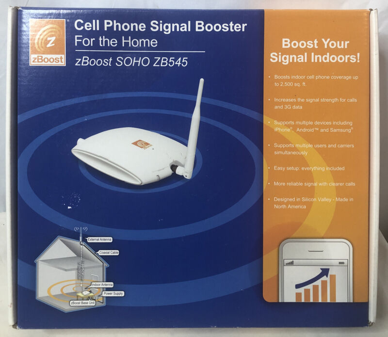 zBoost SOHO ZB545 Cell Phone Signal Booster 2500 Square Feet Complete