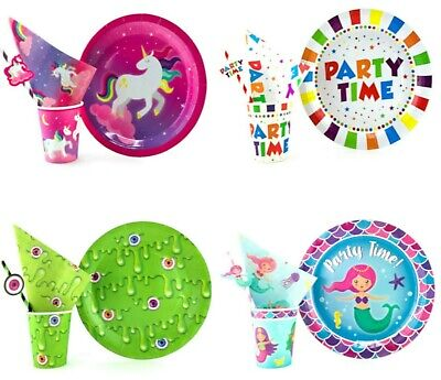 Birthday Party Tableware Kids Party Supplies Decorations Unicorns Slime Mermaids ()