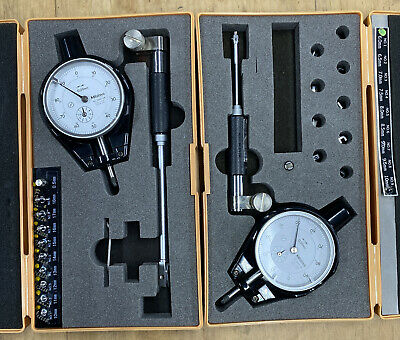Mitutoyo 511-211 And 511-201 Small Hole Bore Gage With 2046-08 Dial Indicators.