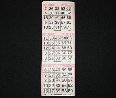 BINGO PAPER Cards 3 on postage stamp 4 corners pattern Pink 200 sheets FREE SHIP