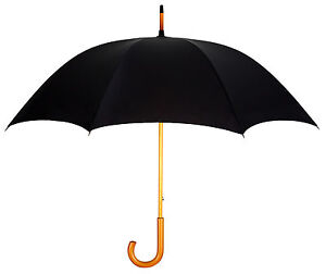 BLACK Fashion Umbrella With Genuine WOOD Shaft & Handle - LIFETIME WARRANTY!