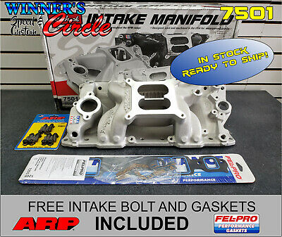 Edelbrock 7501 RPM Air Gap Intake SB Chevy w/ Free ARP Bolts and FelPro Gaskets