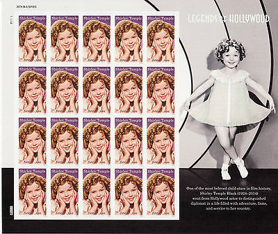 SHIRLEY TEMPLE STAMP SHEET -- USA 5060 FOREVER 2016 LEGENDS OF HOLLYWOOD