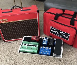 Vox AC 15 and Pedal board with pedals