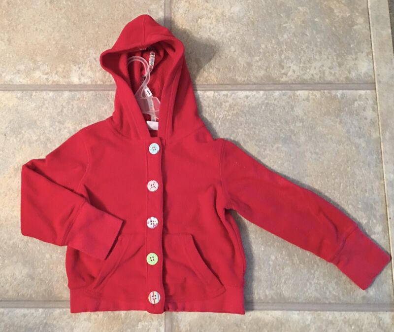 Carter's Girl's Size 3T Red Fleece Hooded Jacket With Buttoned Front