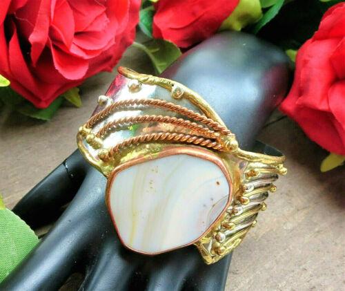Vtg BRUTALIST TRI-COLOR Metal Copper Brass QUARTZ Stone Wide Cuff BRACELET