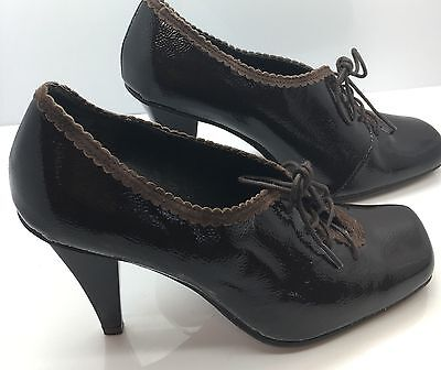 KENNETH COLE REACTION Black Patent Leather Lace-Up Oxford Granny Heels Womens 6M Kenneth Cole Oxford Heels
