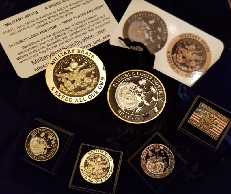 Military BRAT Seal~SHINY Silver & Gold  Challenge Coin & 4 Pins (5Pcs Gift Set)