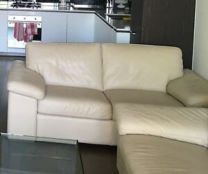 Natuzzi cream leather 3 seater reclining  + 2 seater Hawthorn Boroondara Area Preview