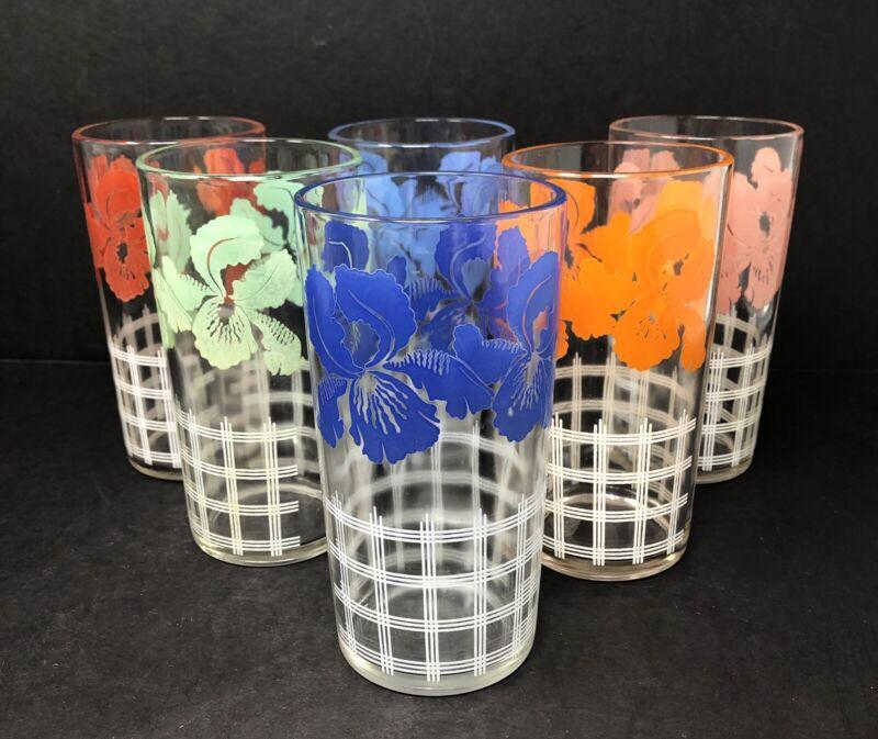 Vintage Set of 6 Swanky Swig Iris Flower Lattice Juice Glasses Different Colors