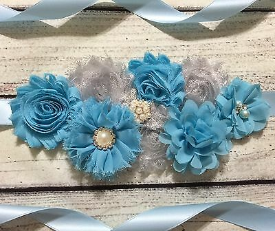 Silver And Blue Maternity Sash Belt /Baby Showers Vintage Belt /Flower Girl (Baby Blue And Silver)