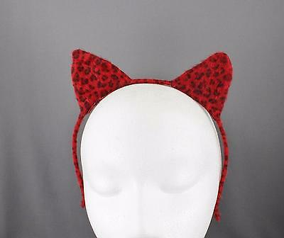 Red Black cat ears headband cheetah soft faux fur furry kitten hair band costume (Furry Black Cat Costume)
