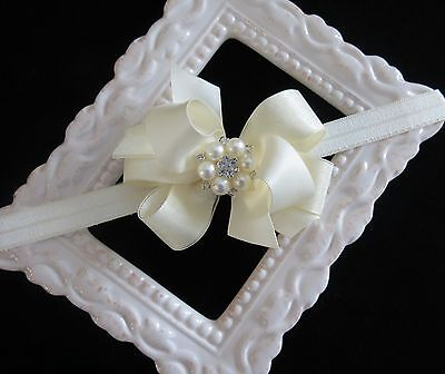 IVORY baptism satin hair bow headband small flower girl pear