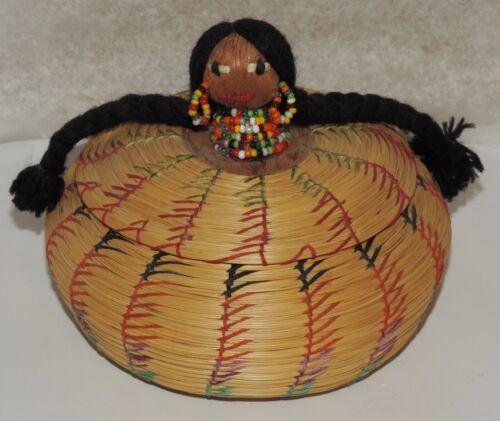 Vintage Native American Seminole Sweetgrass Palmetto Lidded Basket w Doll Head