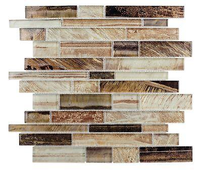 - Contemporary Linear Brown Glass Mosaic Tile Backsplash Kitchen Wall MTO0207