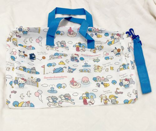 Sanrio Japan, Mascot Characters Blue White Tote Bag, Zipper Top with Strap