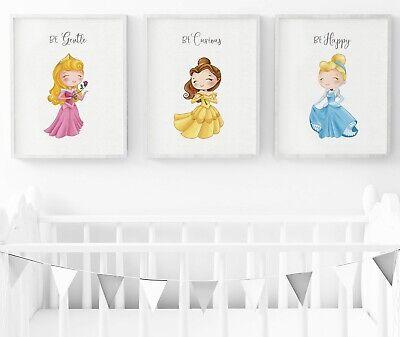Disney Princess Nursery Prints, Set Of 3, Princess Wall Art, Nursery Decor