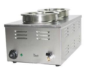 ELECTRIC BAIN MARIE TWO 2 LARGE ROUND SOUP POTS FOOD SAUCE WARMER HOLDER, BAINE