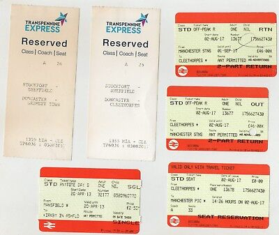 4 Rail Tickets Cleethorpes-Manchester Ret. 2017+Mansfield-Kirkby In Ashfield 13+