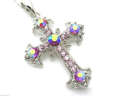 - Cross Pendant Women's W Austrian Pale AB Pink Crystal Necklace Silver Plated New