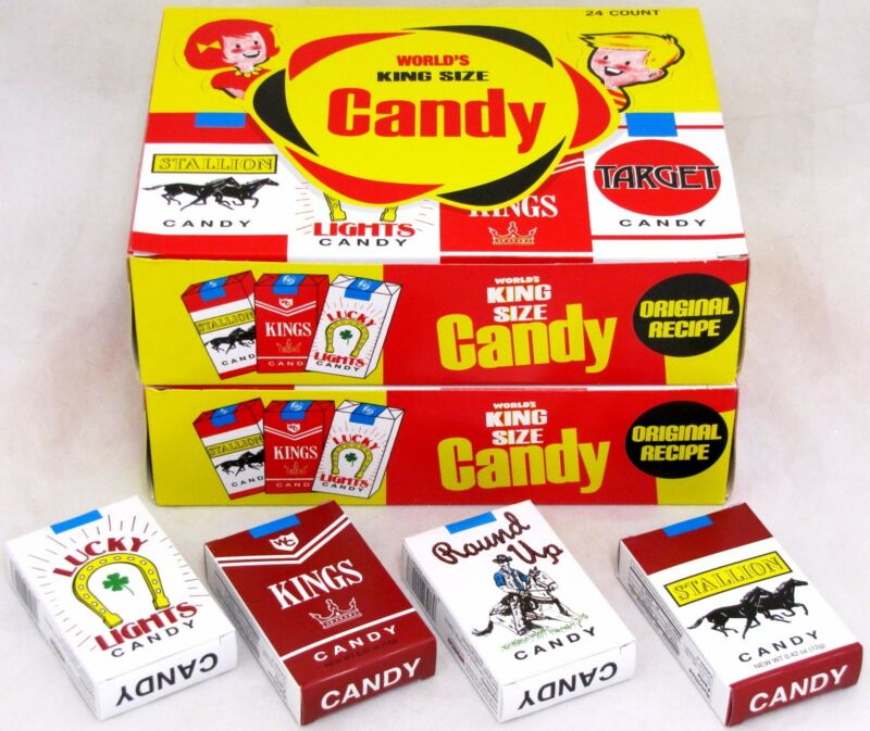 Worlds King Size Candy Cigarettes 2 Boxes 48 Packs Total Bulk Sticks Candies