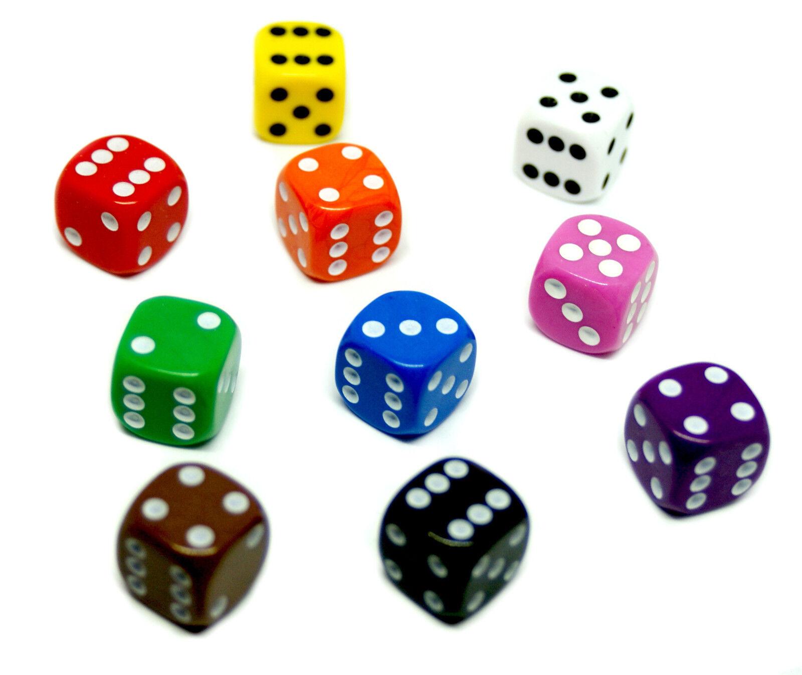 W6 Würfel/Dice/15-16mm verschiedene Farben Grün,Rot,Orange,Gelb,Weiß,Rosa,Lila