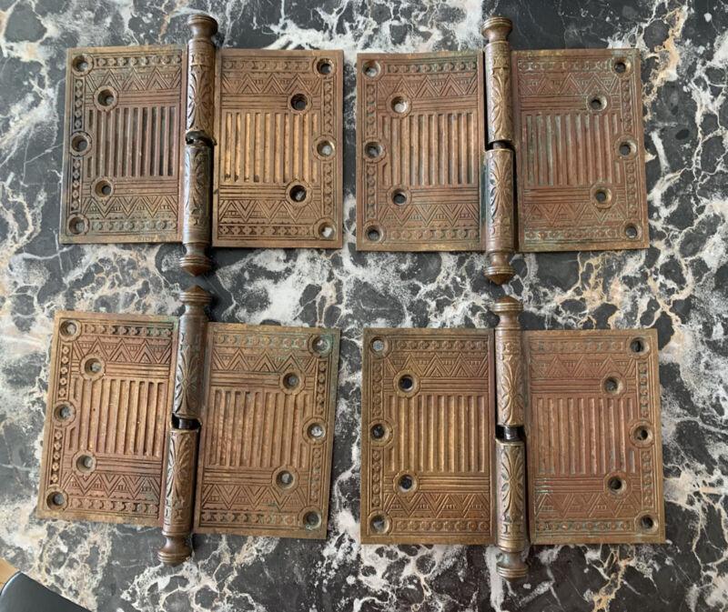 4 Sets Bronze Eastlake Dated 1879 Door Hinges 5X7