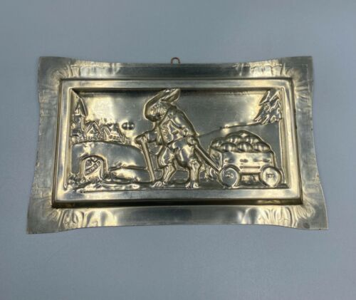 Vintage Easter Bunny Rabbit Pulling Wagon Chocolate Bar Mold