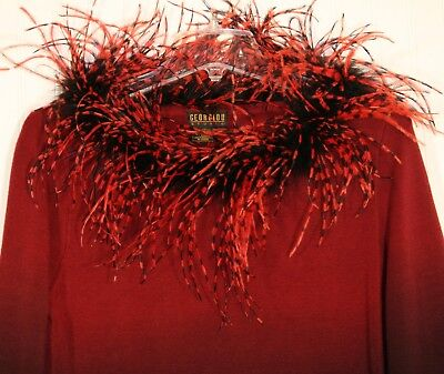 Women's Large maroon, black pullover sweater feathers @ neck great for Halloween