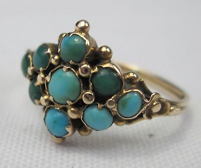 Antique Victorian 9ct Gold Pave Set Persian Turquoise Floral Ring