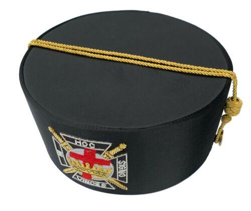 MASONIC Knight Templar Crown Crowns CAP Black HAT Size 59