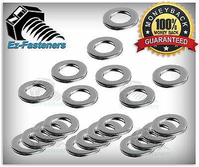 """Stainless Steel Flat Washers 1/4"""" Qty 100 pcs Pack (18-8 Stainless Steel)"""