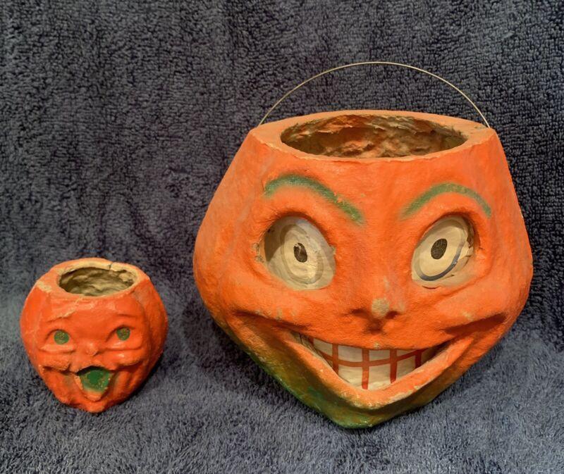 "Vintage Paper Mache Pumpkin Original Insert 5.5"" And Small 2.5"" Lot"
