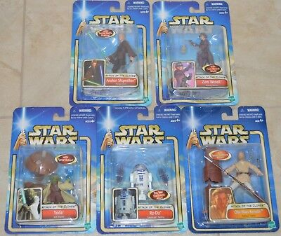 New Lot Star Wars Attack of the Clones Collection 1 Yoda R2-DW Zam Wesell Kenobi