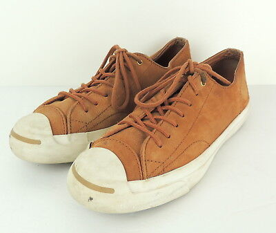 Jack Purcell Converse Mens 7.5 Brown Leather Sneakers Rare Tan Toe Stripe, used for sale  Shipping to Canada