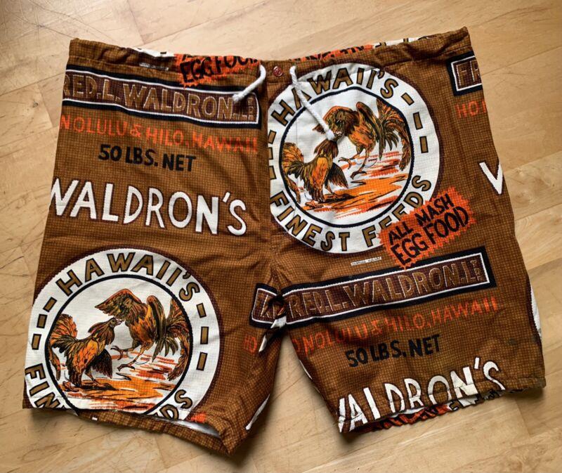 RARE! Vintage Hawaiian Holiday Surf Board Shorts Fred L. Waldron Cock Fight L-XL