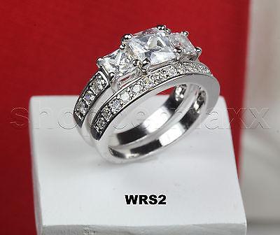 STERLING SILVER PRINCESS CUT 3 STONE VTG CZ ENGAGEMENT WEDDING RING SET-1.81 CT 3 Stone Princess Ring Setting