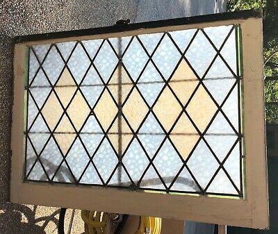 5 SETS HTF CHURCH SALVAGE ANTIQUE LEADED GLASS WINDOWS (8) SASH 40X29 (2) 31X30