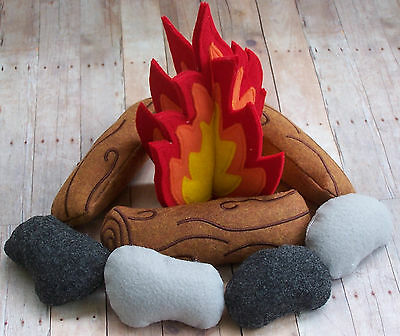Felt Campfire Pretend Play Logs Rocks Stones Camping Imaginative Handmade Kids